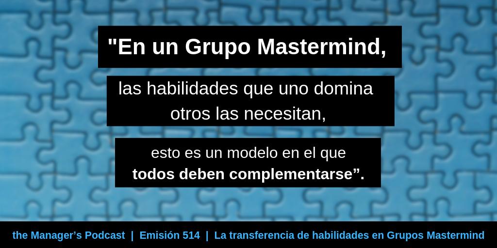 Cómo se transmiten las destrezas entre los miembros de un Grupo Mastermind | Transferencia de habilidades y conocimiento como fundamento para el crecimiento profesional | Transferencia de pensamiento y criterio ejecutivo | Gestión de Grupos de trabajo